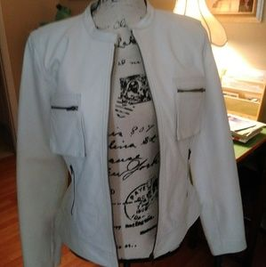 White Genuine Leather Rampage Motorcycle Jacket Wo